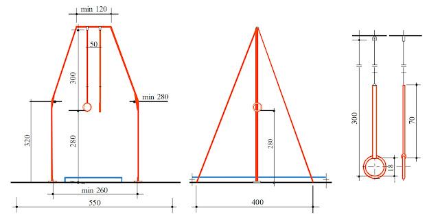 """Установочные размеры для гимнастических колец согласно """"FIG APPARATUS NORMS"""""""