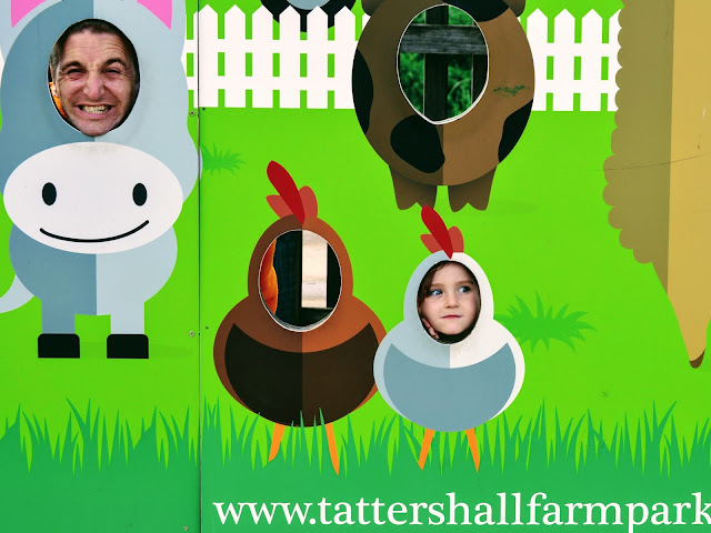 Image taken at Tattershall Farm Park of a daddy and daughter putting their faces in a display stand with cut out areas for holes. The man is a donkey and the girl is a chick. There is empty space for people to look like a horse or a hen.