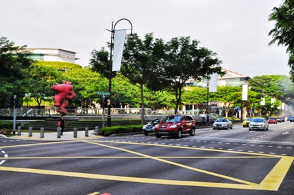 Intersection of Bras Basah street and Queens street in Singapore