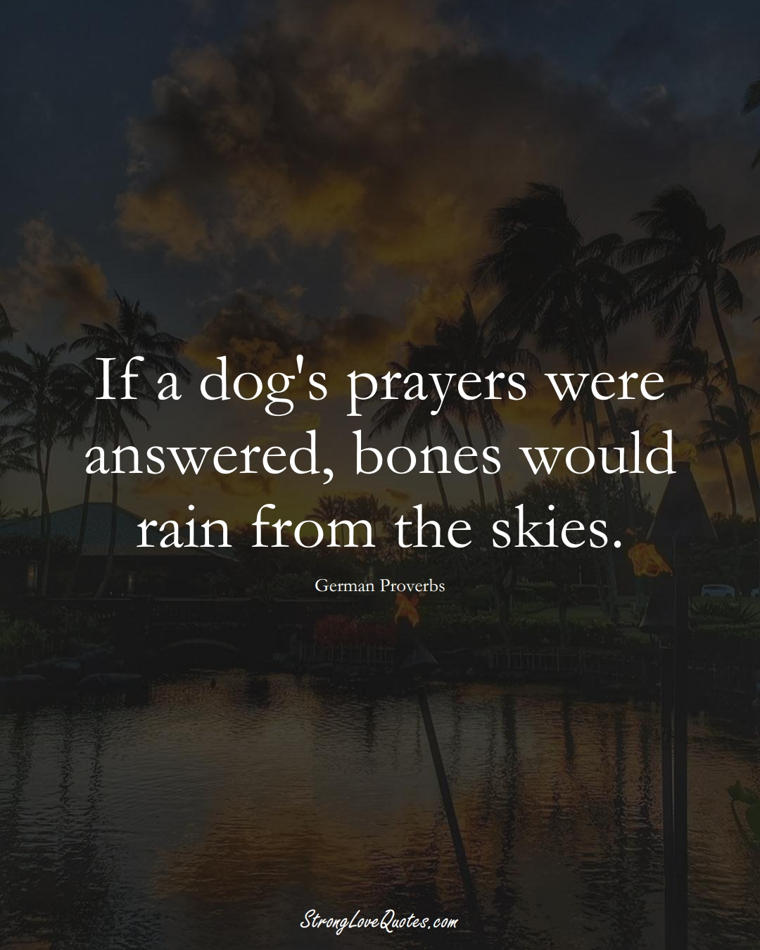 If a dog's prayers were answered, bones would rain from the skies. (German Sayings);  #EuropeanSayings