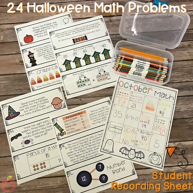 Math activities and worksheets for October and Halloween