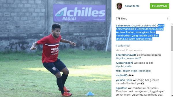 Pemain Bali United Syakir Sulaiman