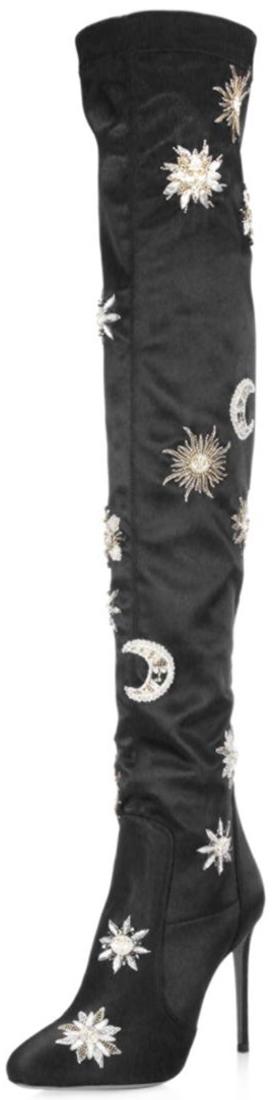 Aquazzura Dorado Over-The-Knee Detailed Satin Boots
