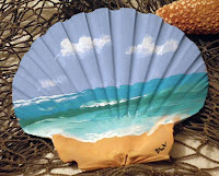 Manualidades : conchas pintadas a mano OLAS DEL MAR