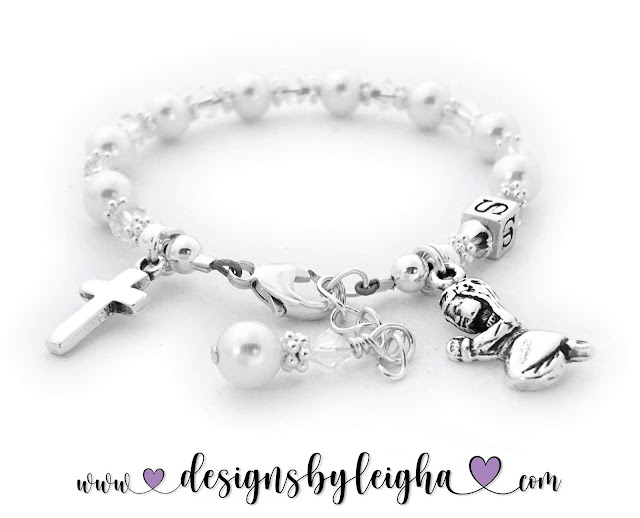 Baptism Charm Bracelet with an Extension Clasp