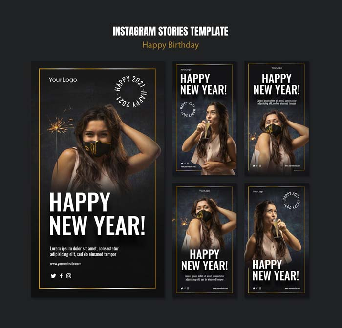 Instagram Stories Collection New Year Celebration