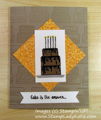 Cake card made with Stampin'UP!'s Piece of Cake Stamp set and Cake Builder Punch