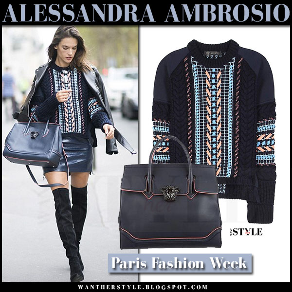 Alessandra Ambrosio in blue knit versace sweater, blue leather mini skirt and black suede boots and versace palazzo empire bag what she wore paris