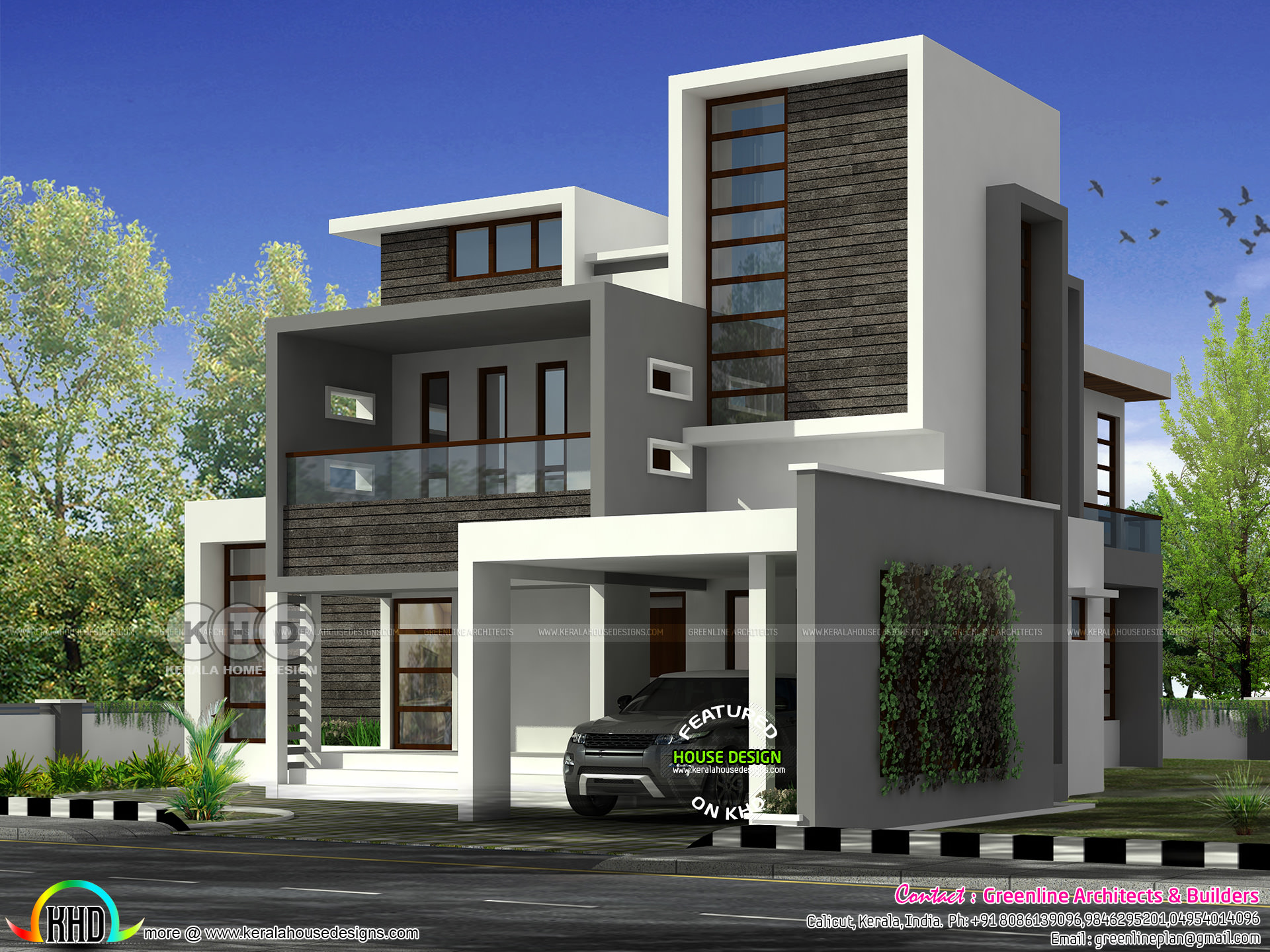 Roof Design Ideas: 4 Bedroom Flat Roof Home 3001 Sq-ft