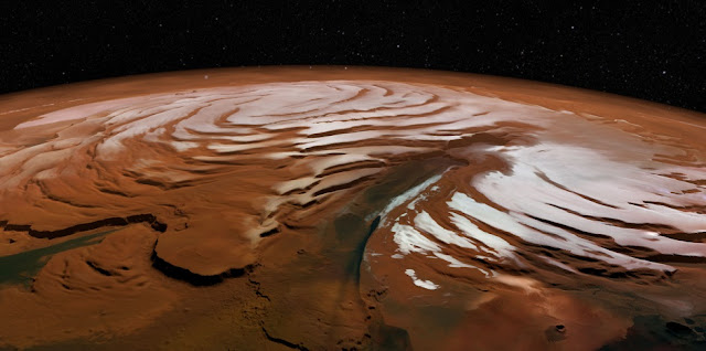 A vertically exaggerated view of Mars' north polar cap. Researchers with The University of Texas at Austin and the University of Arizona estimate that if melted, the massive ice deposits discovered in this region would cover the planet in 1.5 meters (5 feet) of water. Credit: SA/DLR/FU Berlin; NASA MGS MOLA Science Team