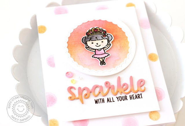 Sunny Studio Stamps: Born To Sparkle Tiny Dancer Ballerina Card by Nancy Damiano