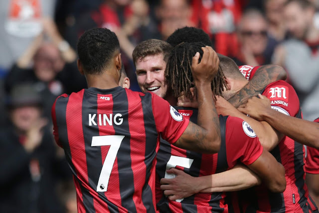 Bournemouth players celebrate goal