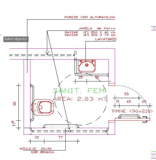 Preferência Doutor da Construção: Bloco CAD de Banheiro Acessível em dwg ZL13