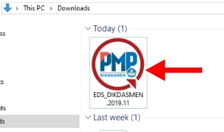 Buka hasil unduhan dan doble klik pada aplikasi PMP Offline EDS Dikdasmen versi 2019.11