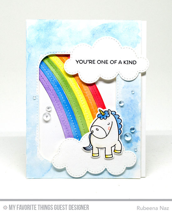 One of a Kind Card by Rubeena Naz featuring the Birdie Brown Magical Unicorns stamp set and Die-namics, and the End of the Rainbow and Inside & Out Stitched Rounded Rectangle STAX Die-namics #mftstamps