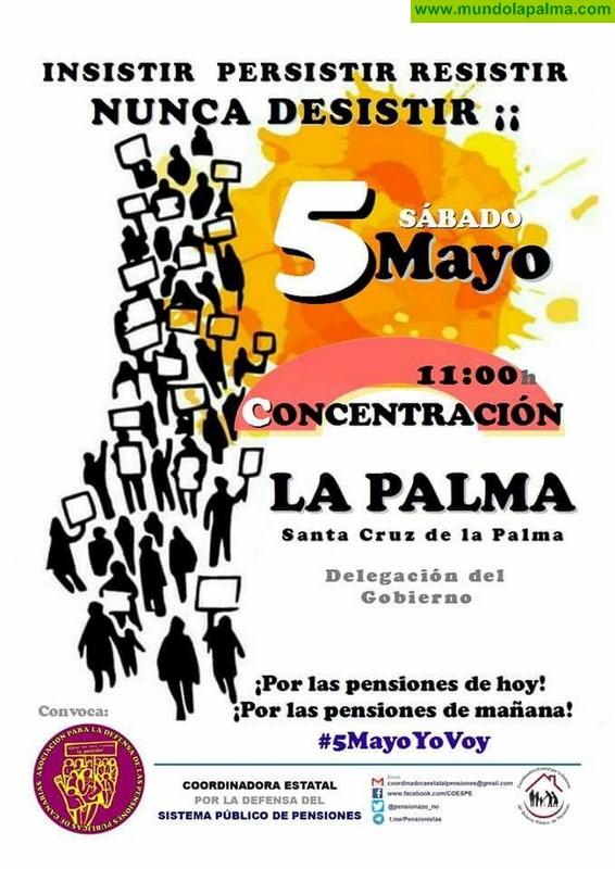 Concentración por las pensiones el próximo 5 de Mayo