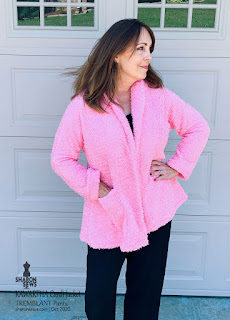 Kawartha Cardi Jacket in Pink Shearling Knit worn by Sharon Sews showing pocket