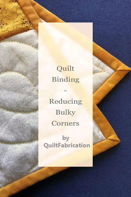 Quilt Binding - Reducing Bulky Corners - tutorial with video by QuiltFabrication