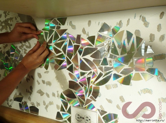 Diy Wall Decoration With Cd : Wall decoration idea from waste cd crazzy craft