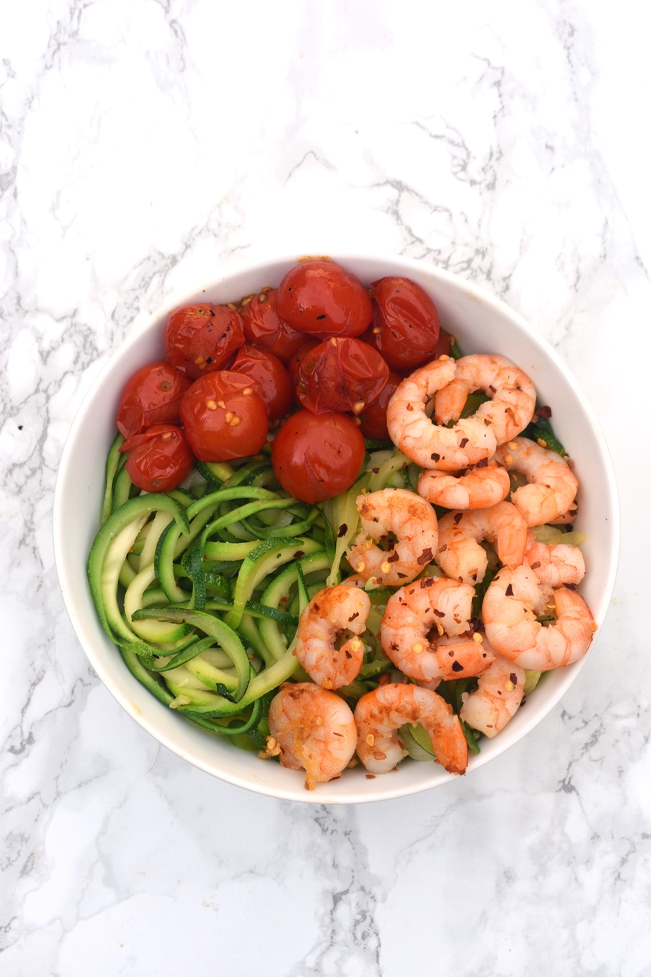 Shrimp with tomatoes and zoodles