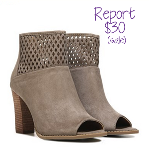The open toe bootie with a stacked heel is popular this fall. Journee has a $50 alternative to the $98 Toms version - and Report has a $30 alternative!