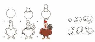 cara menggambar hias dengan motif hewan www.simplenews.me