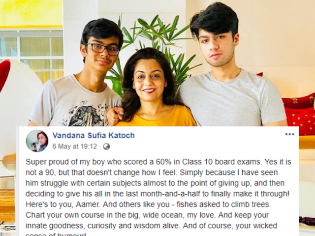 This mom celebrates her son's 60% score in Class 10 board exams! Her post goes viral