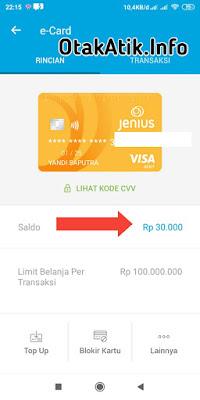Saldo Rp 30.000 dari m-Card telah berhasil masuk ke e-Card Jenius kita.