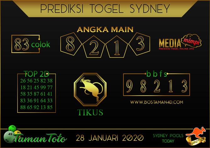 Prediksi Togel SYDNEY TAMAN TOTO 28 JANUARI 2020