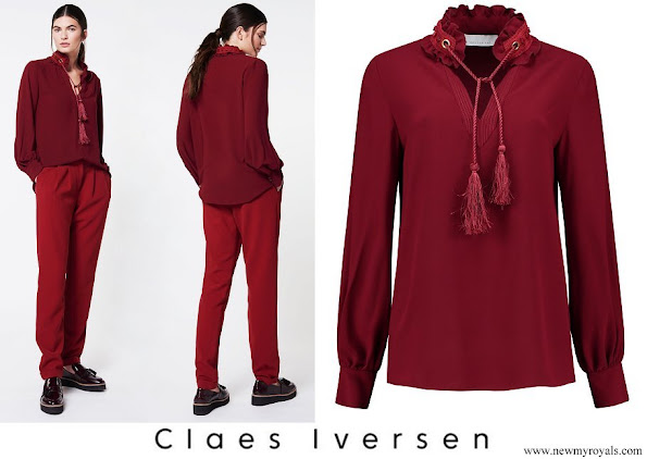 Queen Maxima wore a Claes Iversen red blouse