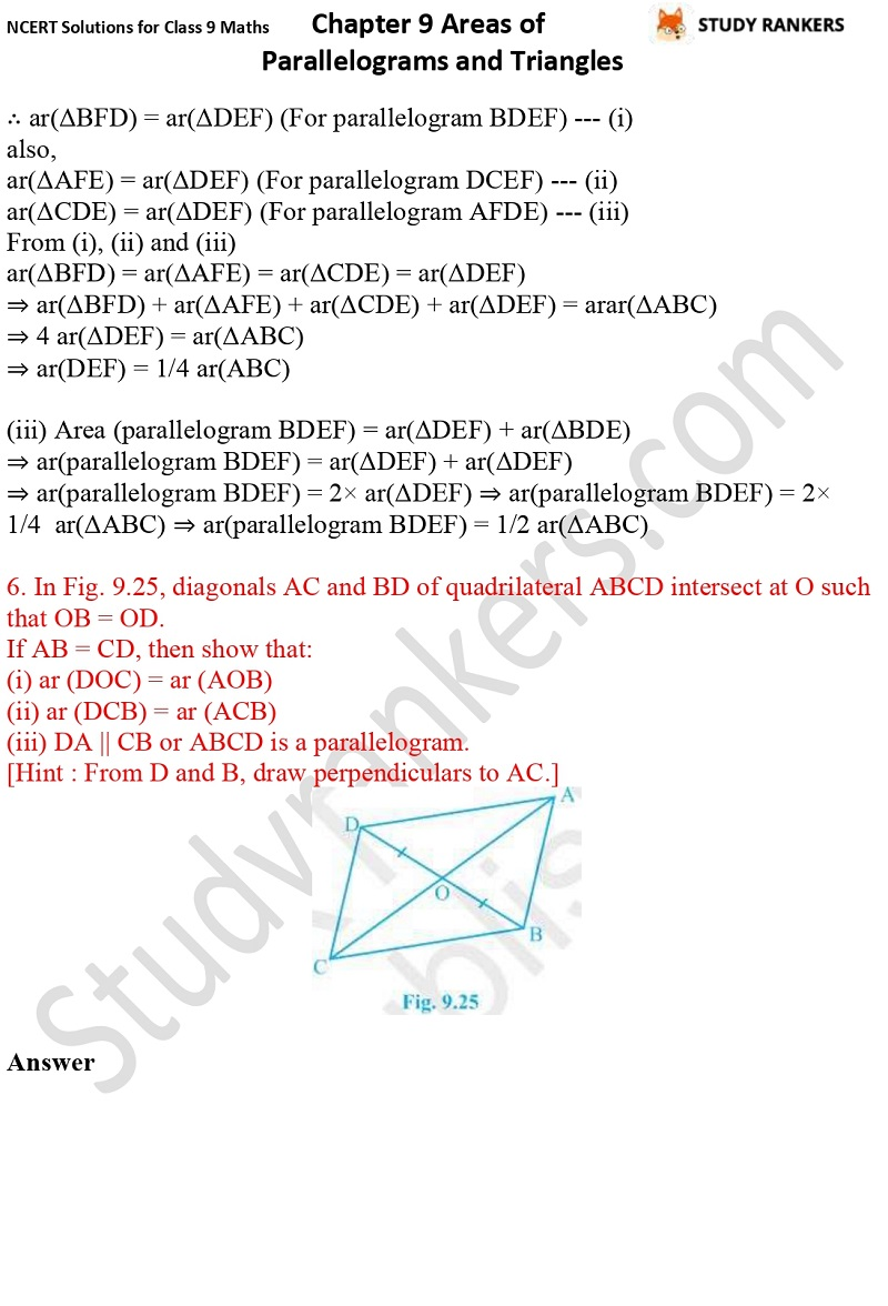 NCERT Solutions for Class 9 Maths Chapter 9 Areas of Parallelograms and Triangles Part 10