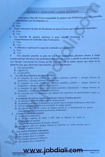 Exemple Concours Administrateurs 2 ème grade Audit et Contrôle de Gestion - Centre Hospitalier Ibn Sina