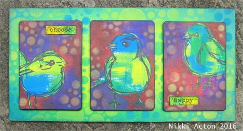 Dina Wakely Scribbly Birds ATC's