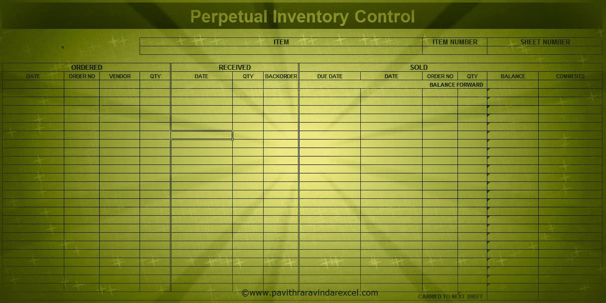 Excel Template Inventory Management