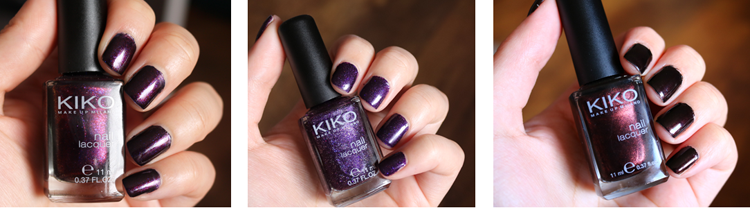 KIKO Nail Lacquer 497 Pearly Indian Violet, 255 Violet Microglitter, 374 Pearly Chocolate Noir