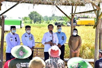 Presiden Jokowi senang produktivitas beras tinggi dan harga gabah petani naik Presiden Jokowi senang produktivitas beras tinggi dan harga beras untuk petani naik