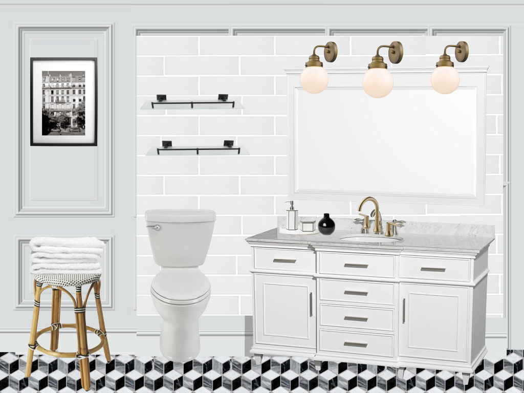 French bistro style, French bathroom, black white marble, one room challenge bathroom renovation