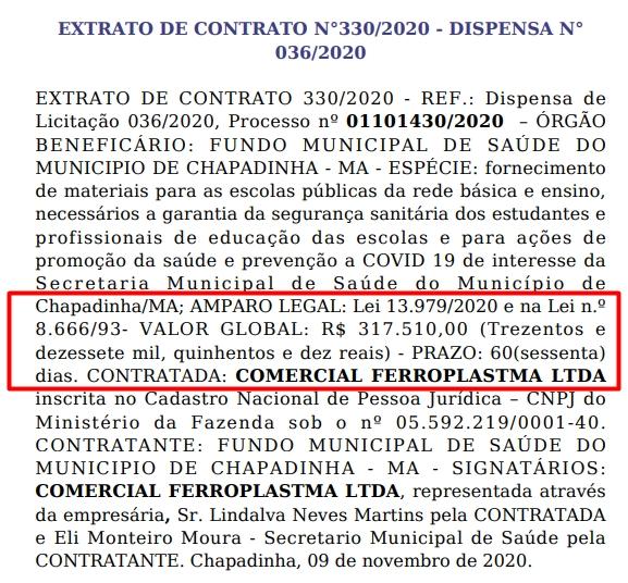 PREFEITURA DE CHAPADINHA FECHAR CONTRATO COM EMPRESA PARA USAR MAIS DE 300 MIL DO DINHEIRO DO COVID NAS ESCOLAS MUNICIPAIS, MESMO SEM TER AULA.