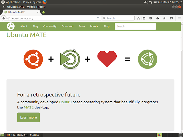 Firefox web browser running in Ubuntu MATE