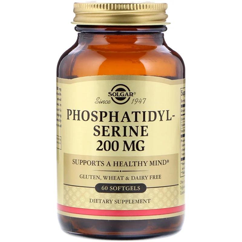 Solgar, Фосфатидилсерин, 200 мг, 60 мягких желатиновых капсул