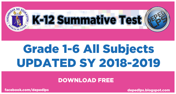 New 2nd Quarter Summative Tests Grade 1 6 All Subjects Updated Sy 2018 2019
