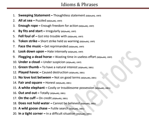 Idioms & Phrases Asked in various SSC Exams PDF Download