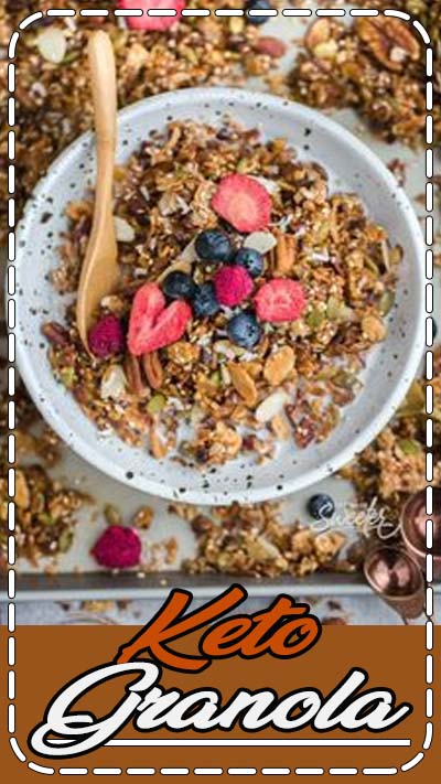 This healthy keto granola is full of crunchy grain free clusters and takes just 10 minutes to prep. It's sugar free, gluten-free, paleo and so easy to make with low carb ingredients. Perfect as a hearty breakfast or a delicious snack and only 3g net carbs per serving! Jump start your mornings on the right track with a batch or make it on your Sunday meal prep to enjoy throughout the week! #keto #granola #ketogranola #paleo #grainfree