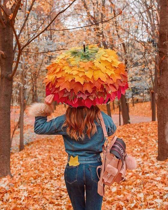 paraguas de hojas otoño