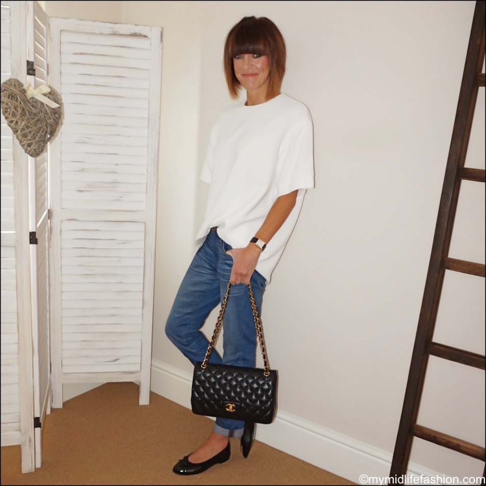 my midlife fashion, j crew boyfriend jeans, Raey crepe long line top, Chanel quilted bag, Chanel ballet pumps