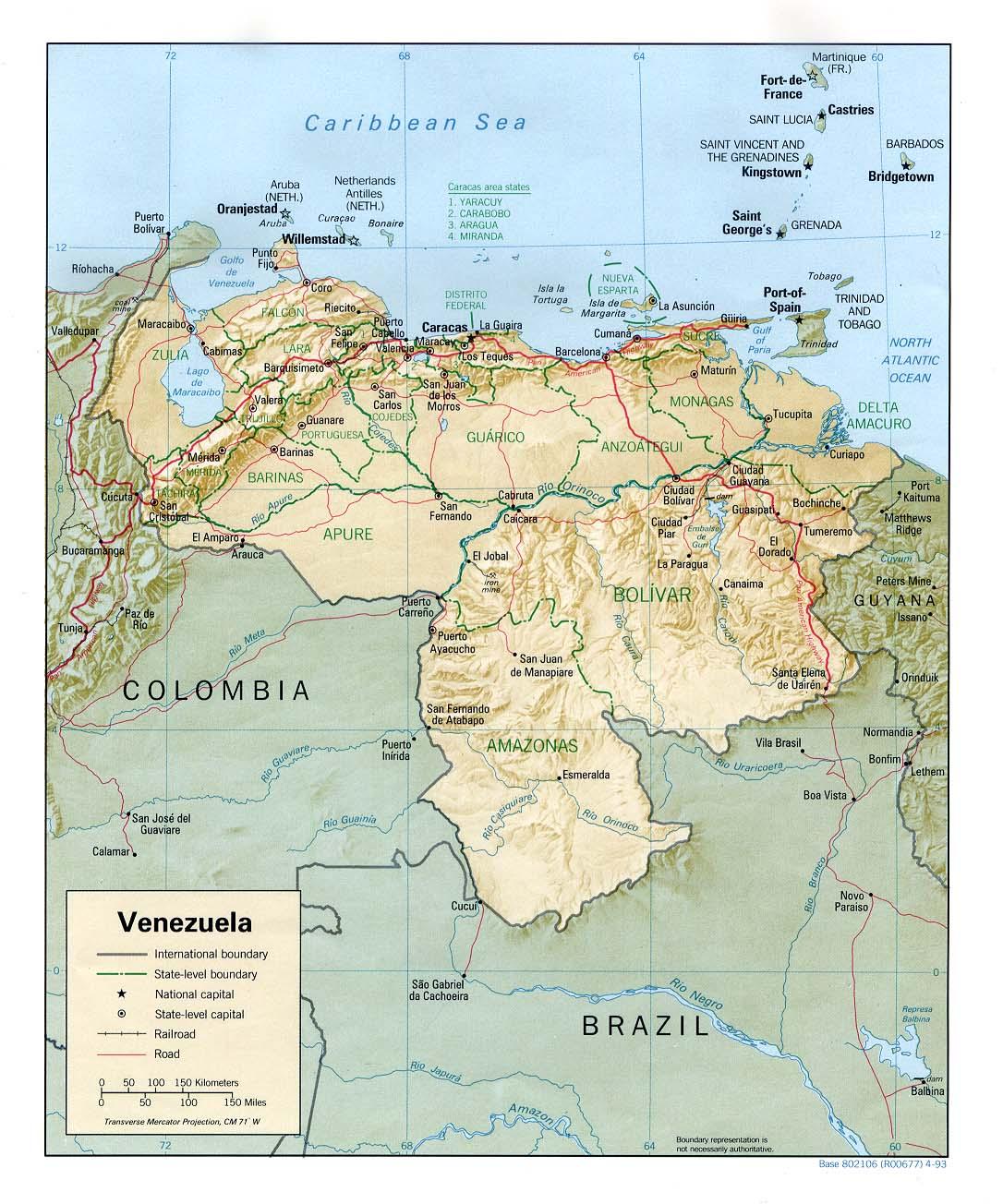 #Venezuela - harta gjeografike e Venezuelës