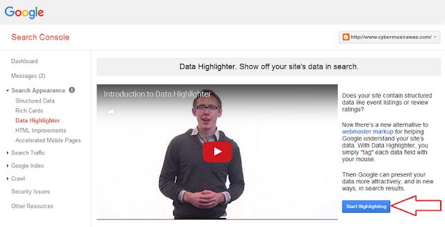 Cara menggunakan search console Penyorot data