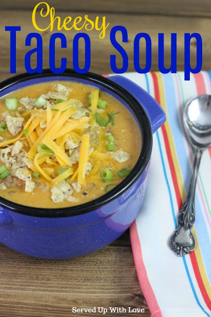 Cheesy Taco Soup recipe from Served Up With Love is taco soup like you have never had it before. Cheesy, meaty, beefy, and oh so good!