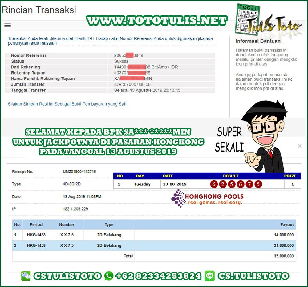 JACKPOT TOGEL 13 AGUSTUS 2019 2D HONGKONG POOLS TULISTOTO MEMBER JP TOGEL 100% LANGSUNG DI BAYARKAN !!