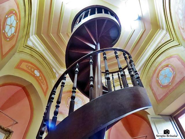 Close-up da Escada caracol do Palacete Conde de Sarzedas - Centro - São Paulo